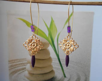 Purple sequin gold earrings