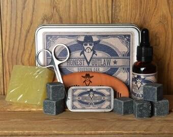 Honest Outlaw Mens Beard Grooming Kit - Bourbon Oak - Whiskey Stones - Beard Oil - Beard Comb - Scissors - Beard Wax - Christmas gift set