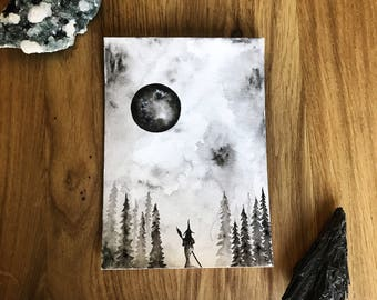 Moon's Lure. Original Watercolor Painting. Witch.