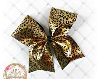 Leopard Cheer Bow, Cheer Bow, Leopard Print Bow, Leopard Print Cheer Bow, Big Hair Bows, Big Cheer Bows, Shiny Cheer Bows, Leopard Hair Bows