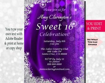 Sweet Sixteen Invitation, Sweet Sixteen Party Invitation, Sweet 16 Invitation, Sweet 16 Party Invitation, Sweet 16 Glitter, You Edit PDF