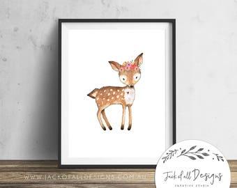 Deer - Wall Art Print - Nursery, Girl