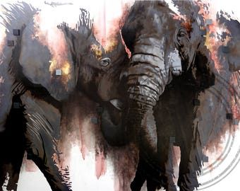ANIMAL ELEPHANT PAINTING on canvas //48''x36''// contemporary oil art modern animal figurative