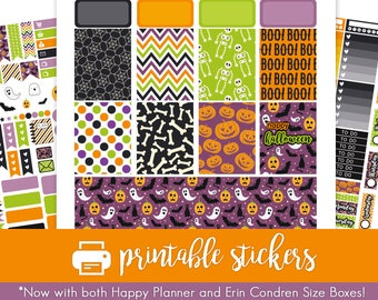 50% Off Printable Planner Stickers Colorful Halloween Weekly Kit! For October / Fall / Autumn! For use with Erin Condren and Happy Planner