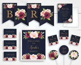 Marsala Navy Bridal Shower Party Décor, Printable Bridal Shower Decorations, Couples Shower, marsala, burgundy, bridal shower bundle