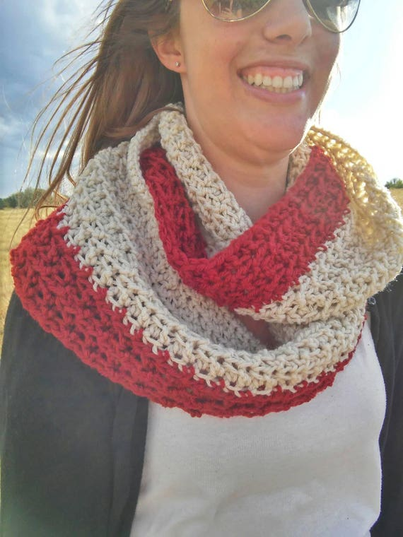 Felicity Scarf -- crochet infinity scarf -- cream and red scarf -- squishy scarf