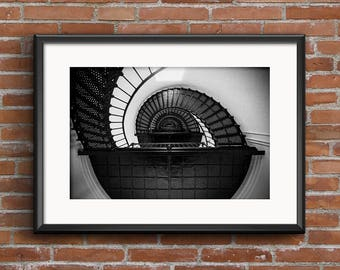 Bodie Island Lighthouse Spiral Staircase OBX Black and White 8x10 16x20 Architectural Photography Fine Art Print Wall Art Photograph