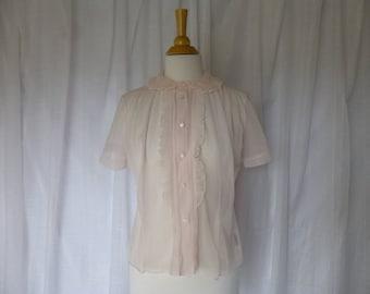 Vintage 40s 50s Lee Mar Frill Bosom Sheer Blouse Shirt S/M Pale Pink Nylon Peter Pan Ruffle Collar Pin-Pleated Short Sleeve CA USA Glam Garb
