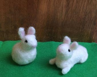 Cute Needle-Felted Easter Bunny Sitting Up Or Lying Down In White, Off-White Tail And Black Bead Eyes