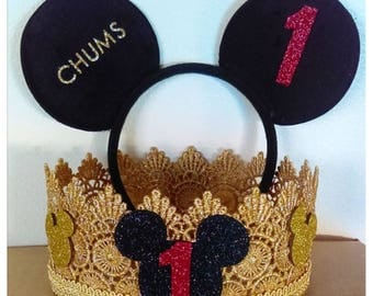 Mickey Mouse Ears, Mickey Mouse Crown, Boy Crown, Mickey Birthday Crown