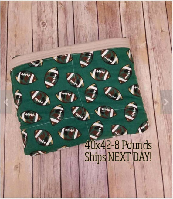Football, 8 Pound, WEIGHTED BLANKET, Ready To Ship, 8 Pounds, 40x42 for Autism, Sensory, ADHD, Calming