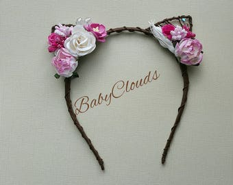 Floral cat ears- birthday gift- Headband- Flower crown