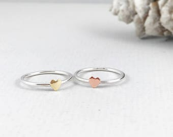 Heart Ring , stacking ring, Minimalist Ring, Love Ring, Sterling Silver Ring, Gift for Her, Valentines Ring