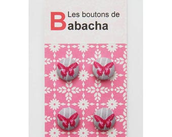 Set of 4 gray background Butterfly motif buttons