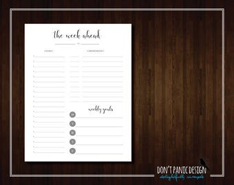 Pretty Black Printable Weekly Planner Page - Simple Weekly Appointment Planner - To Do List - Meal Planner - Instant Download