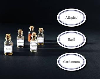 DIY Printable Spice Jar Labels - Navy Blue Oval Spice Jar Labels - Editable Pdf File - Home Organizing Printable Stickers - Instant Download