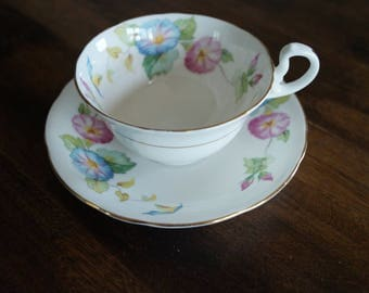 Aynsley, Morning Glory, Vintage Teacup and Saucer