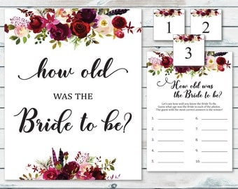 Guess The Bride's Age Printable, Floral Bride's Age Guessing Game, How Old Was The Bride To Be, How Old Is The Bride Printable Game