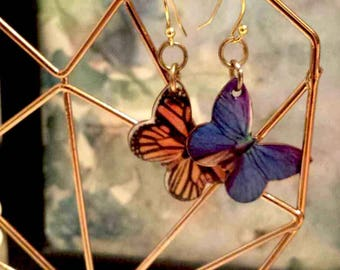 Butterfly earrings, handmade jewelry, hypoallergenic, mismatches pairs