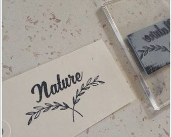 Not mounted rubber stamp with writing * Nature * 2.1 cm height