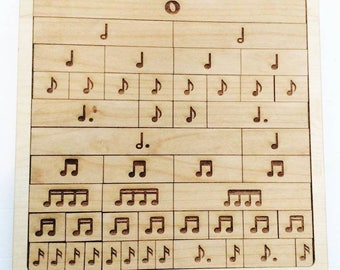 Music fraction bars - music manipulative - musical notes