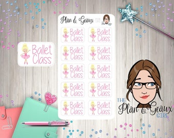 Ballet Class Planner Stickers, Dance Class Planner Stickers, BLOND HAIR Ballet Girl Lessons, Happy Planner Stickers, FUN-182 Blond Hair