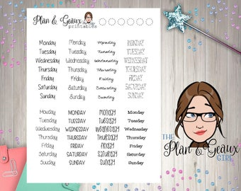Printable Planner Stickers- Days of Week Stickers 9, PDF Download, You Print and Cut