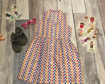 Girls 6 small 90s multicolor collared jumper dress