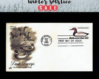 US 2140 American Folk Art: Canvasback Duck Decoy Mar 22, 1985 Shelburne VT - Artcraft - First Day Cover lot #F2140-1