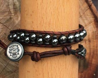 Unisex Bracelet, Double Wrap Bracelet, Hematite Bracelet, Cuff Bracelet, Men's Leather Bracelet
