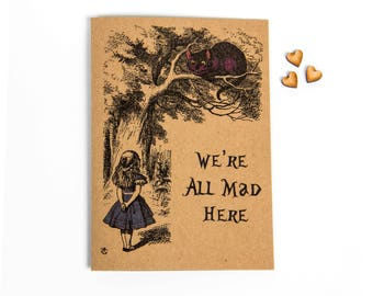 Alice In Wonderland We're All Mad Here Greeting Card - Cheshire Cat - Alice In Wonderland - CS Lewis - Blank Card - John Tenniel