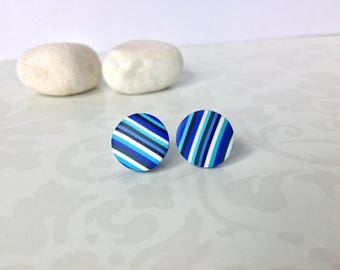 Polymer clay earrings ,Stud earrings , Everyday earrings , Blue earrings , Modern earrings, Small earrings, Contemporary jewelry