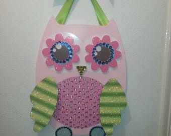 Pink Owl - Bow Hanger - Holds 10+ Hair Bows