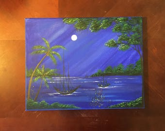 Sailing boats in moonlight original Painting
