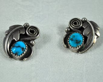 Native American earrings, sterling turquoise earrings, signed MA