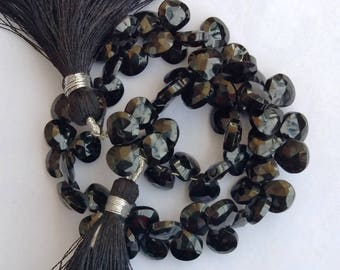 1 Strand Natural Black Onyx 5-6mm  Faceted Flat Pear shape Gemstone Beads 10'' long strand By SHAMSHAD GEMS