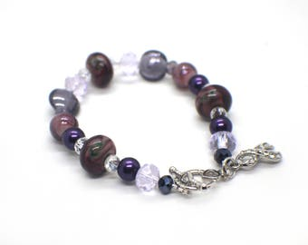 Purple Awareness Ribbon Bracelet, Fibromyalgia Bracelet, Lupus Bracelet, Pancreatic Cancer, Cancer Survivor Gift, Fibro Bracelet, Lupus Gift