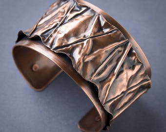 Copper Cuff Bracelet - Wide Cuff Bracelet - Copper Bracelet - Textured Cuff Bracelet - Copper Jewelry - Womens Copper Cuff - Womens Bracelet