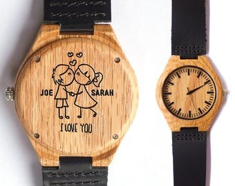 Anniversary Gift, Wood Watch, Mens Watch, Custom Watch, Mens Watch, Groomsmen gift, Wood Watch for Men, Wooden Watch, Engraved Watch