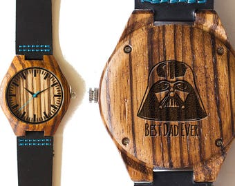 Dad Gift, Fathers Day Gift, Darth Vadar, Wood Watch, Gift Watch, Wood Watch, Anniversary Gift, Groomsmen Gift, Bamboo Watch, Gifts for Him
