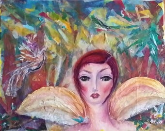 Mixed Media Collage Outskirts of Heaven Angel Pixie