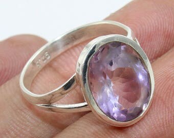 100% Solid 925 Sterling Silver Amethyst Handmade Jewelry Ring Size US 7""