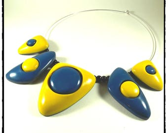Choker necklace mustard yellow and blue polymer clay