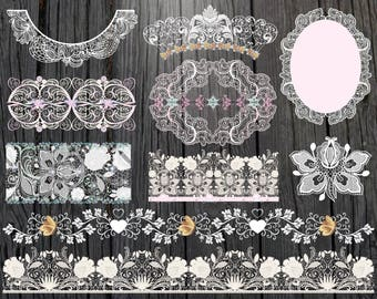 Digital lace clipart Pink Lace clip art Lace Border Clipart Wedding Clipart White Lace Overlay Lace Instant Download Lace Embellishments