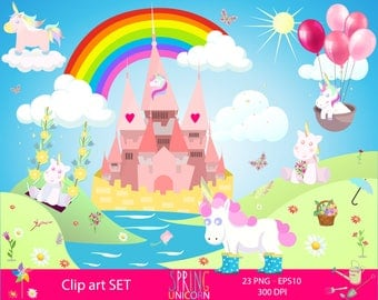 Spring unicorn design set, Unicorn Graphic, Unicorn Party, Unicorn Illustration, Baby Unicorn, Fairytale Cliparts, spring clipart, Unicorns