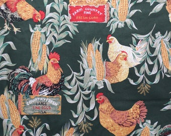 Rooster and chicken fabric called Good Morning America Scenic.  This is a companion fabric to our rooster panel.