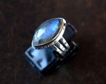 Marquise Shape Labradorite Cabochon Sterling Silver Ring, Stacking Ring, Labradorite Ring, 925 Silver Ring, Natural Gemstone Rings - SKU 130