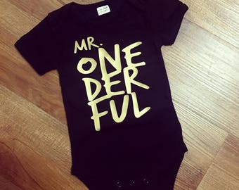 Mr One-Der-Ful Onesie, Baby Onesie, Baby Romper, First Birthday Onesie