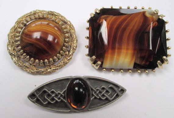 3 Lovely Scottish  vintage gold metal   amber glass  brooches