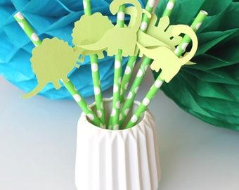 set of 6 green dinosaur straws with white polka dots for kids birthday